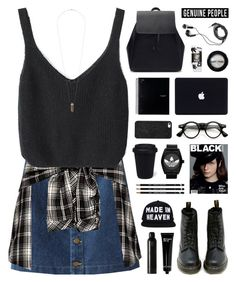 """""""GENUINE-PEOPLE 1"""" by novalikarida ❤ liked on Polyvore featuring Dr. Martens, BaubleBar, DEOS, HUF, Bobbi Brown Cosmetics, Manic Panic, Oribe, adidas and Topshop"""