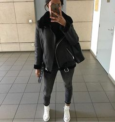- New black faux leather shearling warm women aviator coat winter pilot jacket Buy sneakers Balenciaga Speed Trainers Mid Black White For mens Fashionable Fall Winter Style Fashion Tr