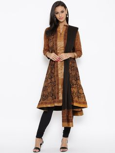 BIBA Mustard Yellow & Black Printed Salwar Suit #Anarkali, #BIBA