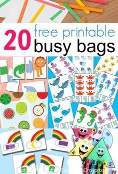 20 free printable busy bags for kids that you can put together in less than 10 minutes! Just print and play! These free printable busy bags are super simple to make--just print and play! Perfect for travel or as quiet time activities. Quiet Time Activities, Infant Activities, Summer Activities, Activities For 3 Year Olds, Indoor Activities, Family Activities, Preschool Learning, Preschool Activities, Teaching