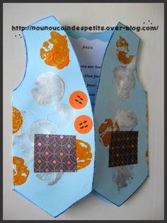 - SOS nounou c'est l'anniversaire de papa samedi , mince il nous reste que demain pour réaliser un petit quelque chose pour le papa de la petite de 23 mois , elle a donc décoré la carte gilet à la peinture avec des bouchons .... - collage de petit coeur...