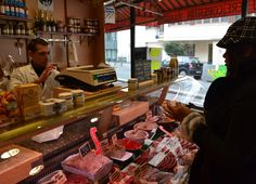 Inside a French Boucherie Shop (Butchers). Montparnasse Area of Paris, France. Stopover in Paris. Check here for full blog on the Montparnasse Area of Paris http://live-less-ordinary.com/europe-travel/montparnasse-area-of-paris-station