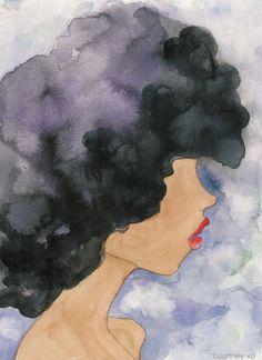 Afro hair art by Courtney XO #naturalhairart