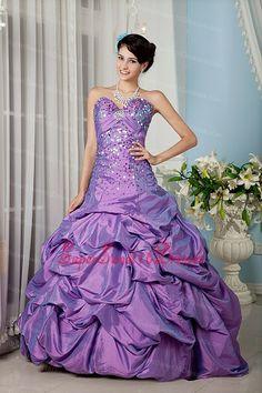 Elegant Lavender Sweetheart 15 Sweet 16 Dress Taffeta Sequins Floor-length