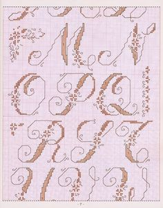 Pink, scrolly alphabet, page 2 of 4 #cross-stitch #momogram #monograms