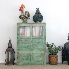 wide x high x deep. A lovely green rustic sideboard made from reclaimed timber with 2 doors. Could also be used as a wall unit. Handcrafted in India. Due to the glass we will only ship this item at your risk so please contact us if you require shipping. Manhattan, Rustic Sideboard, Reclaimed Timber, Bohemian Style, Bookcase, New Homes, Vintage, Wall, Deep