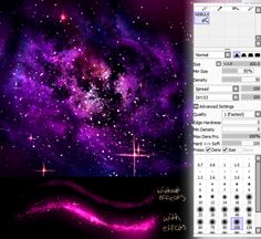 Galaxy/Nebula FOR BLENDING: Size 26.0 Min size 60% Density 100% Spread 50% (No Texture) Blending 50 Dilution 50 Persistence 80 Keep opacity yes Smoothing Prs 50% +Advanced Settings Quality 2 Edge Hardness 0 Min Density 0 Max Dens Prs 100% Hard <-> Soft 100 Dens: Yes Size Yes Blend: Yes