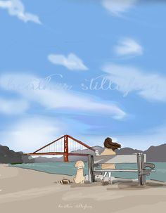Wall Art for Women - Coffee And the Golden Gate - Wall Art Print -  Digital Art Print -  Wall Art -- Print