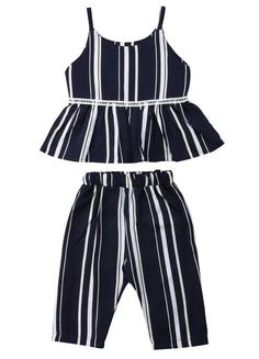 Toddler Girl Stripe Peplum Outfit Set – The Trendy Toddlers Toddler Girl Style, Toddler Girl Outfits, Baby Girl Dresses, Toddler Fashion, Girl Fashion, Toddler Girls, Fashion Clothes, Fashion Kids, Baby Girls