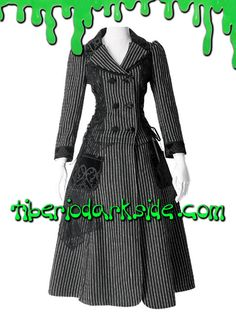 PINSTRIPE LOLITA LONG COAT  Abrigo lolita largo desmontable en chaqueta. Cierre con botones. Lazada en la espalda con corchetes. Apliques de encaje en parte superior de la espalda y falda. Apliques de terciopelo estampado en cuello, puños y botones. Marca: Pyon Pyon.  COLOR: NEGRO/BLANCO TALLAS: S, M, L  S - 82 cm pecho, 68 cm cintura (talla 36) M - 88 cm pecho, 72 cm cintura (talla 38) L - 94 cm pecho, 78 cm cintura (talla 40)