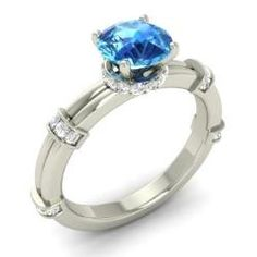 Blue Topaz and Diamond  Ring in 14k White Gold (1.3 ct.tw.) - Alunit