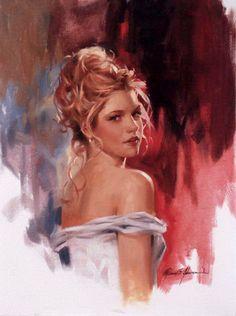 """Parting Glance"" - Richard Johnson {figurative beautiful blond female face woman posterior back painting} ♥ Elegant !!"