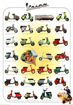 Vespa Scooters - Images of Vintage and Classic Italian Scooters Scooters Vespa, Lambretta Scooter, Scooter Motorcycle, Motor Scooters, Motorcycle Posters, Piaggio Vespa, Vespa Vintage, Vintage Ads, Vintage Posters