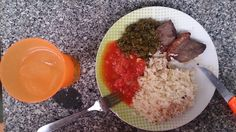 picanha, kizaca,molho de tomate, arroz solto e suco de limão