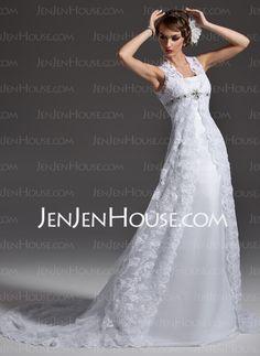 Wedding Dresses - $222.49 - A-Line/Princess Scoop Neck Chapel Train Satin  Lace Wedding Dresses With Lace  Beadwork (002001257) http://jenjenhouse.com/A-line-Princess-Scoop-Neck-Chapel-Train-Satin--Lace-Wedding-Dresses-With-Lace--Beadwork-002001257-g1257