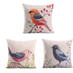 Amazon.com: Monkeysell 3pcs Custom LOVE Birds Pattern Linen Decorative Throw Pillow Case Sofa Car Throw Pillow Cover (Three little birds and flowers): Home & Kitchen