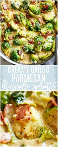 Creamy Garlic Parmesan Brussels Sprouts & Bacon - Cafe Delites