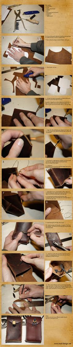 Quick-and-dirty leather pouch howto. The pattern I used is mine with a little modification. I made this pouch in two peices because I didn't found a piece of leather of the right size If you find m...