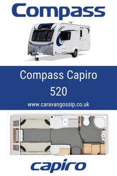 The Compass Capiro 520 is a built on a single axle chassis and is a 2 berth caravan. There is no fixed bed but has a make up double bed at the front. There is also a large bathroom at the rear. Caravan Reviews, Large Bathrooms, Caravans, Double Beds, Motorhome, Compass, Full Beds, Rv, Motor Homes