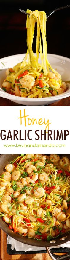 Honey Garlic Shrimp - The PERFECT summer recipe!! Sautéed shrimp and red bell peppers poured over a bed of spiralized zucchini and yellow squash. So easy and delicious!