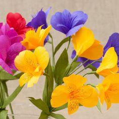 Giallo carta Alstroemeria fusto singolo / carta fiori di myfloret