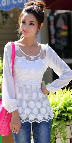 Elegant long sleeves lace blouse – New York Fashion New Trends Cool Outfits, Summer Outfits, Shirt Bluse, Blouse Dress, Navy Blouse, Beautiful Blouses, Lace Tops, Spring Summer Fashion, Elegant