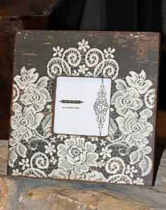 White Lace Wood Picture Frame Shabby Chic at www.sabiboutique.com!