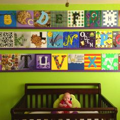 ABC Nursery MuA feast for the eyes! Alphabet Nursery, New Room, Baby Boy Shower, Cute Kids, Toy Chest, Playroom, Nursery Ideas, Room Ideas, Kids Room