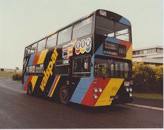 sporting an overall ad for Valspar paint in 1984 . Manchester Buses, Valspar Paint, Double Decker Bus, Dublin City, Bus Coach, Coaches, Trains, Transportation, Ireland