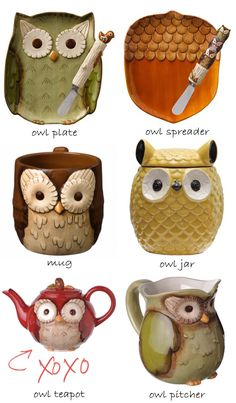 My Owl Barn: Owl Teapot, Owl Jar and More  I love all of these things!