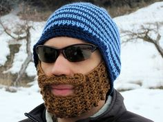 Items similar to crochet beard hat unique gift for men boys blue beard hat blue beard beanie The Original Beard Beanie™ blue striped - S/M on Etsy Knitted Beard, Crochet Beard, Hand Crochet, Knitted Hats, Crochet Hats, Beard Beanie, Knit Beanie Hat, Beanies, Stupid Inventions
