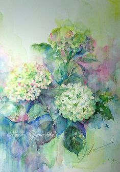 Watercolor Flowers, Watercolor Paintings, Hydrangea Flower, Hydrangeas, Hydrangea Painting, Korean Painting, Watercolor Projects, Ad Art, Botanical Illustration