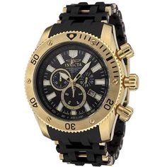 1b85b19601cb Invicta Men s 0140 Sea Spider Collection 18k Gold Ion-Plated and Black  Polyurethane Watch