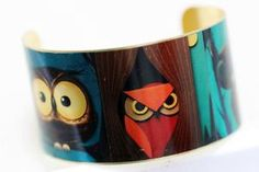 Owl Famliy Brass Cuff Bracelet by emmagemshop on Etsy