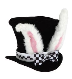 Kid's White Rabbit Topper - Alice in Wonderland White Rabbit Topper Hat Adult Halloween Costume Accessory - Alice and the Madhatter could not start their tea party until Rabbit joined the fun! A tux collar and checkerboard bow t... - Hats & Caps - Apparel - $14.00