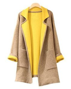 Stylish Lapel Color Block Double-Pocket Long Sleeve Women's CoatCoats | RoseGal.com