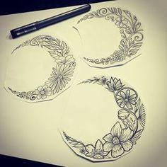 flower moon tattoo - Google Search...