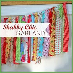 How to Make a Shabby Chic Garland #shabbychic #garland. I'd really like some #shabby garland, but these colors don't really look right to me. ~AF