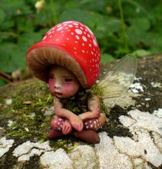 Tiny Woodland Mushroom Fairy by Celia Anne Harris OOAK - Made to Order. $78.00, via Etsy.
