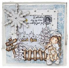 Tilda with Little Rudolph, Winter Night Background, Winter Fence & Tilda's Sign Post
