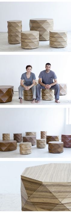 Diamond Wood Side Tables & Coffee Tables by Tesler Mendelovitch
