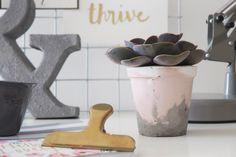 Marbled Concrete Plant Pot DIY