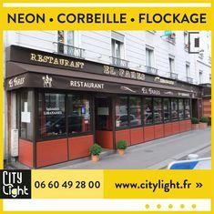 Lettres néon couleur champagne simple trait et double traits • corbeille avec lambrequin + marquages #neon #lettreneon #neonsign #enseigneneon #corbeille #lambrequin #marquagelambrequin #flockage #restaurant #elfares #paris15 #restaurantlibanais