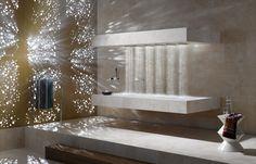 horizontal shower on a heated stone shelf - high end spa spec (Dornbracht 1)