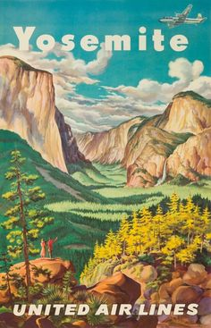 Yosemite National Park Vintage Poster USA c. 1945 (9x12 Collectible Art Print, Wall Decor Travel Poster) #affiliate