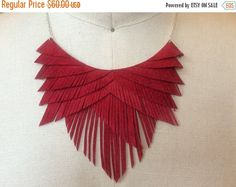 July 4th Sale Red Suede Fringe Necklace