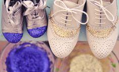DIY Glitter Cap Toe Shoes
