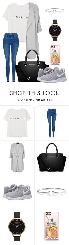 """Unbenannt #368"" by lailabalic ❤ liked on Polyvore featuring MANGO, Topshop, River Island, MICHAEL Michael Kors, NIKE, Tiffany & Co., Olivia Burton and Casetify"