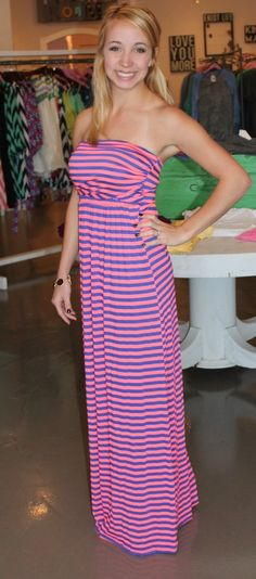 Dottie Couture Boutique - Striped Tube Maxi-Pink, $42.00 (http://www.dottiecouture.com/striped-tube-maxi-pink/)