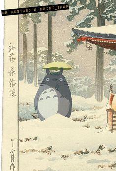 Totoro in de sneeuw Japanse Print: Studio Ghibli poster Studio Ghibli Poster, Studio Ghibli Art, Studio Ghibli Movies, Aesthetic Art, Aesthetic Anime, Totoro Poster, Studio Ghibli Background, Japon Illustration, Scenery Wallpaper